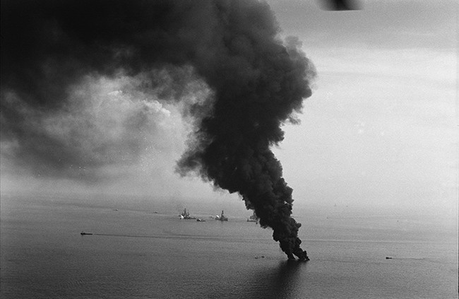 Oil is burned off from the Deepwater Horizon site.