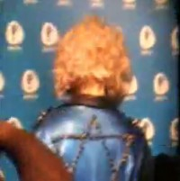 Lady Gaga, at a press conference in Jerusalem, shows off her Star of David jacket