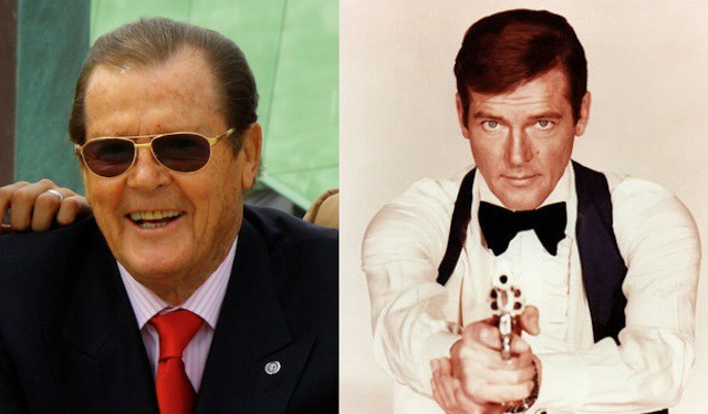 Who is that gross old man on the left? Why it's 'Sir Roger Moore,' who was once a youngish James Bond actor.