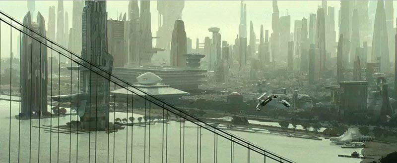 A vision of a Green Future, in which the air and the new SF metropolis are actually green, as in this Star Trek movie still.