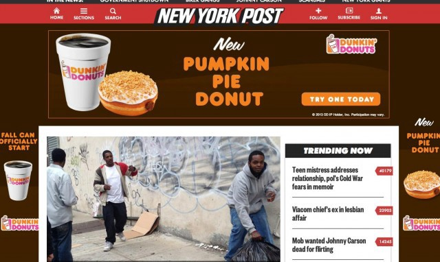 """""""Fall can officially start"""" is the marketing slogan for Dunkin' Donuts' """"pumpkin pie donut."""""""