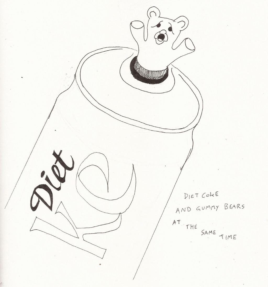 gummy bears + diet coke